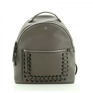 New With Tag Fendi Grey Calfskin Leather Backpack